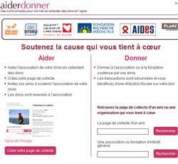 aiderdonner, service web pour les organisations faisant appel à la générosité du