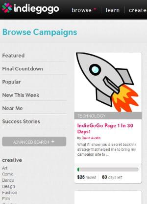 indiegogo revendique 40 000 campagnes dans 200 pays