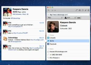 cobook récupère les données de twitter, facebook et linkedin pour enrichir votre