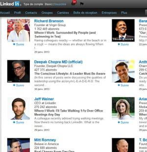 vous pouvez suivre les publications de célébrités.