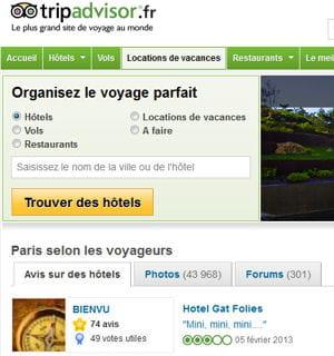 6% des internautes français se sont rendus sur tripadvisor en décembre