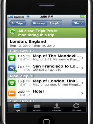 l'application tripit, véritable agenda de voyage.