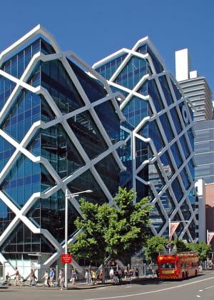 l'immeuble de la banque macquarie, à sydney,accueille un atrium géant à