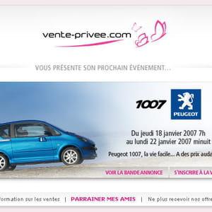 en2007, peugeot vend des 1007sur ventes-privées.com pour 30% moins cher.