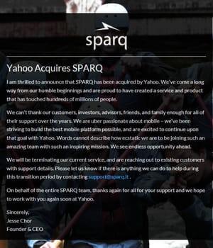 l'équipe de sparq travaille désormais sur le mobile chez yahoo.