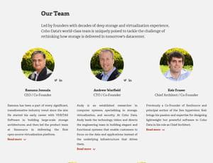 présentation des trois fondateurs de cohodata sur le site de la start-up.