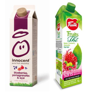le smoothie myrtille, grenade et açai d'innocent et le jus raisin, cranberry,