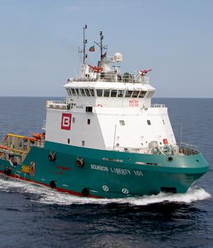 la flotte de bourbon comprend 242 navires spécialisés, dont le liberty101, un