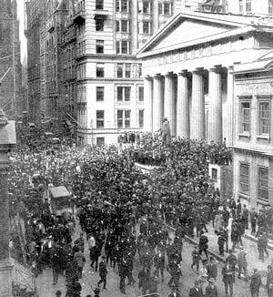 la bourse de new york, wall street, le 24 octobre 1929.