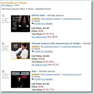 capture d'écran du site amazon.com le 6 juillet 2009.