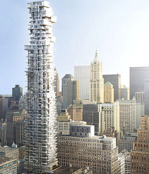 la construction de la tour située au 56 leonard street a été stoppée.
