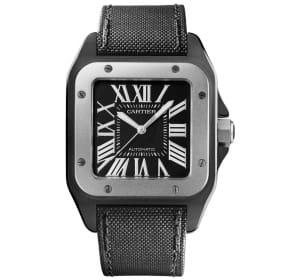 la montre santos 100 de cartier, avec lunette en acier poli et bracelet en