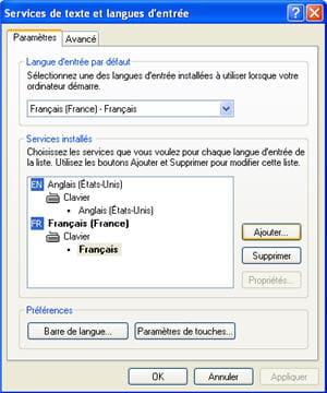 le menu des langues sous windows xp.