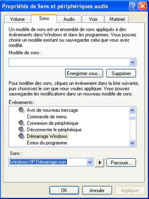 le menu de gestion des sons sous windows xp