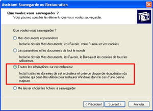 le menu de l'utilitaire de sauvegarde sous windows xp.