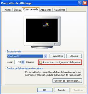 paramétrer l'écran de veille sous windows.