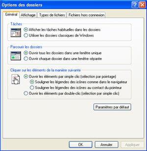 le menu options des dossiers sur le poste de travail de windows xp.