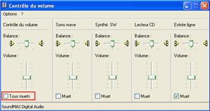 le menu de gestion du volume sous windows.
