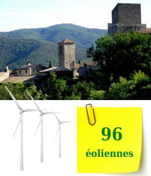 rhone-alpes compte 96éoliennes.