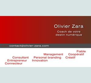 la carte de visite d'olivier zara synthétise sa mission, ses valeurs et