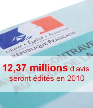 en 2010, près de 12,37 millions d'avis de contravention seront édités.
