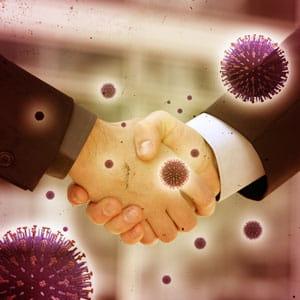 les poignées de mains véhiculent les virus.