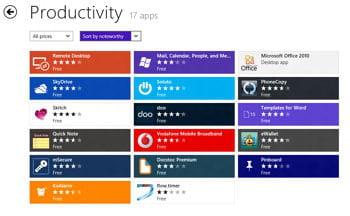 la catégorie 'productivité' de la boutique d'applicationsde windows 8 propose