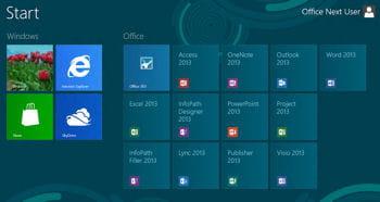 les différentes applications office 2013 s'affichent sous formesde tuiles, mais