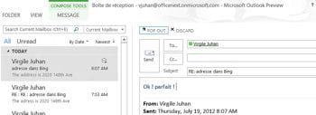 outlook 2013 permet de répondre à un mail rapidement, sans ouvrir de nouvelle