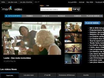 page d'accueil du service vidéo de msn
