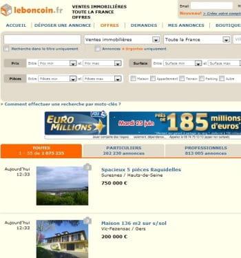 1er immo le top 5 des sites d 39 immobilier en france jdn - Leboncoin fr immobilier moselle ...