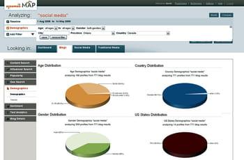 la map (media analysis platform) de sysomos fait remonter des indicateurs en
