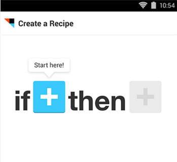 le début d'unerecette sur l'application android de ifttt, qui a été lancée il y