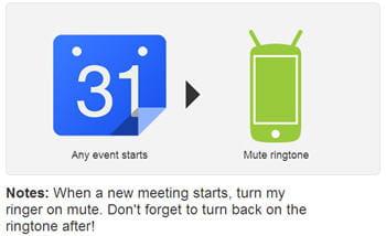 une recette d'ifttt permet de passer son téléphone android en mode silencieux