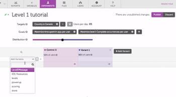 l'interface de leanplum permettantde réaliser les expérimentations se veut