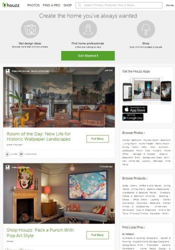 houzz, réseau social et marketplace de professionnels de l'aménagement de la