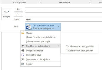 outlook 2016 permet d'autoriser la lecture et les modifications d'un document