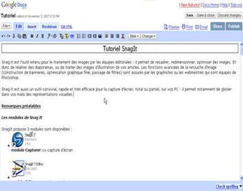 le traitement de texte en ligne de google documents