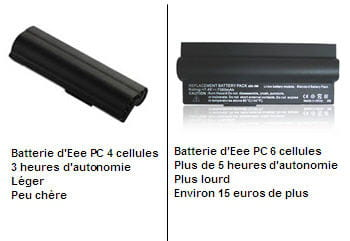 deux batteries d'eee pc