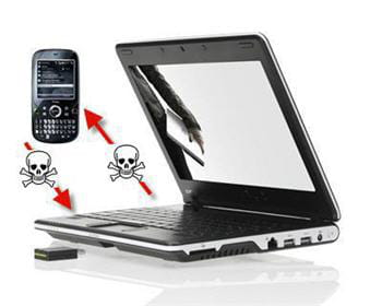 si le téléphone comporte une carte mémoire, le ver envoie une copie du virus
