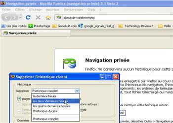 le mode de navigation privée est accessible via l'onglet outils de firefox.