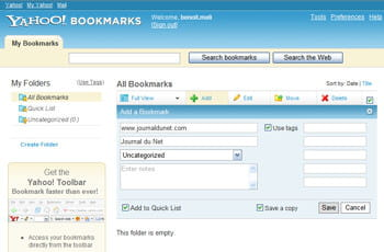 yahoo bookmarks 