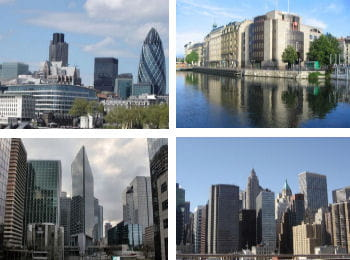 la city à londres, genève, paris la défense, new york.