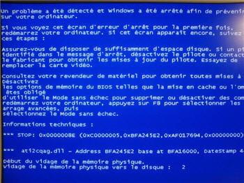 l'écran bleu bien malheureux sous windows