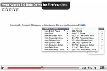 une image de la démonstration en vidéo d'hyperwords