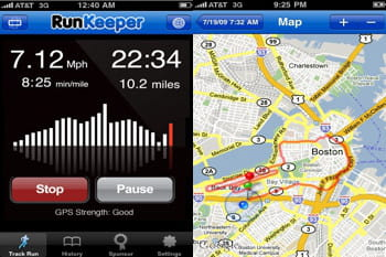 captures d'écran de l'application runkeeper