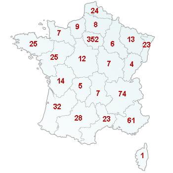 en rouge, le nombre de défaillances dans le secteur par région.