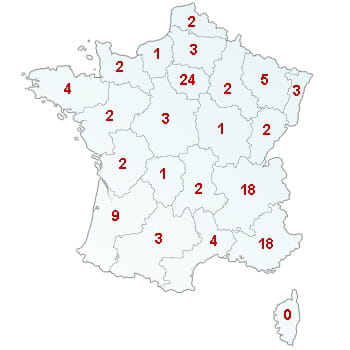 en rouge, le nombre de dfaillances dans le secteur par rgion. 