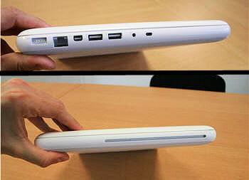 la connectique du macbook coté gauche et droit de l'appareil.