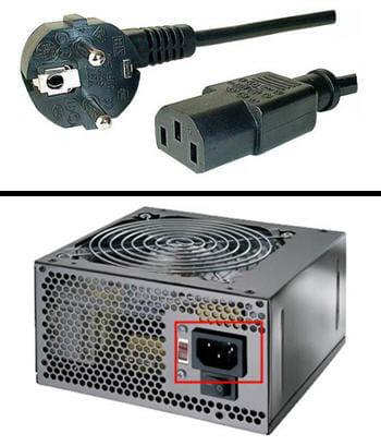 câble d'alimentation et branchement sur un bloc d'alimentation.